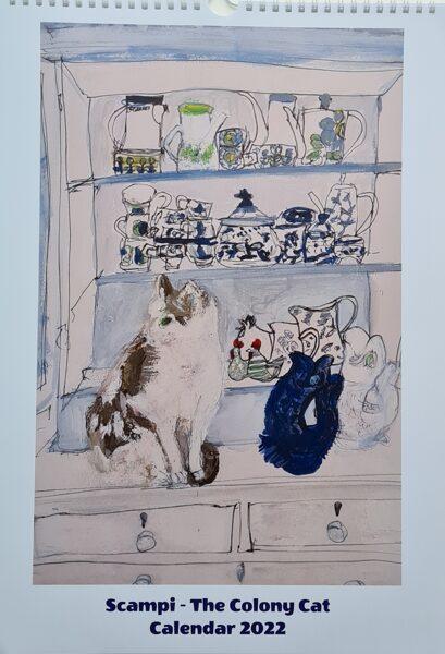 """Includes Europe P&P  -  """"Scampi - The Colony Cat""""  A3 calendar 2022"""