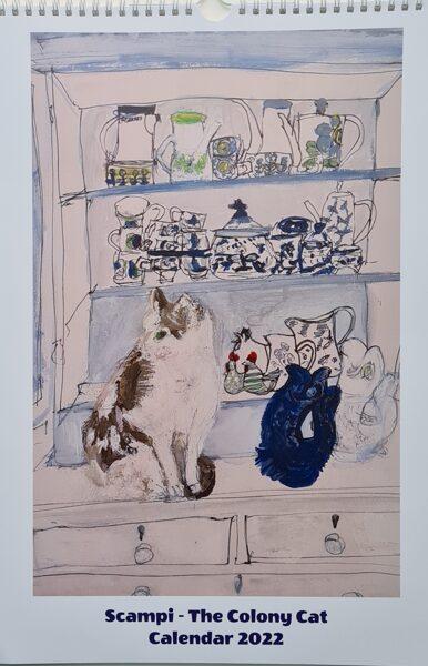 "Includes P&P to USA, Australia and New Zealand  ""Scampi - The Colony Cat""  A3 Calendar 2022"